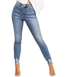 NWT Free People CRVY Mid-Rise Destroyed Skinny